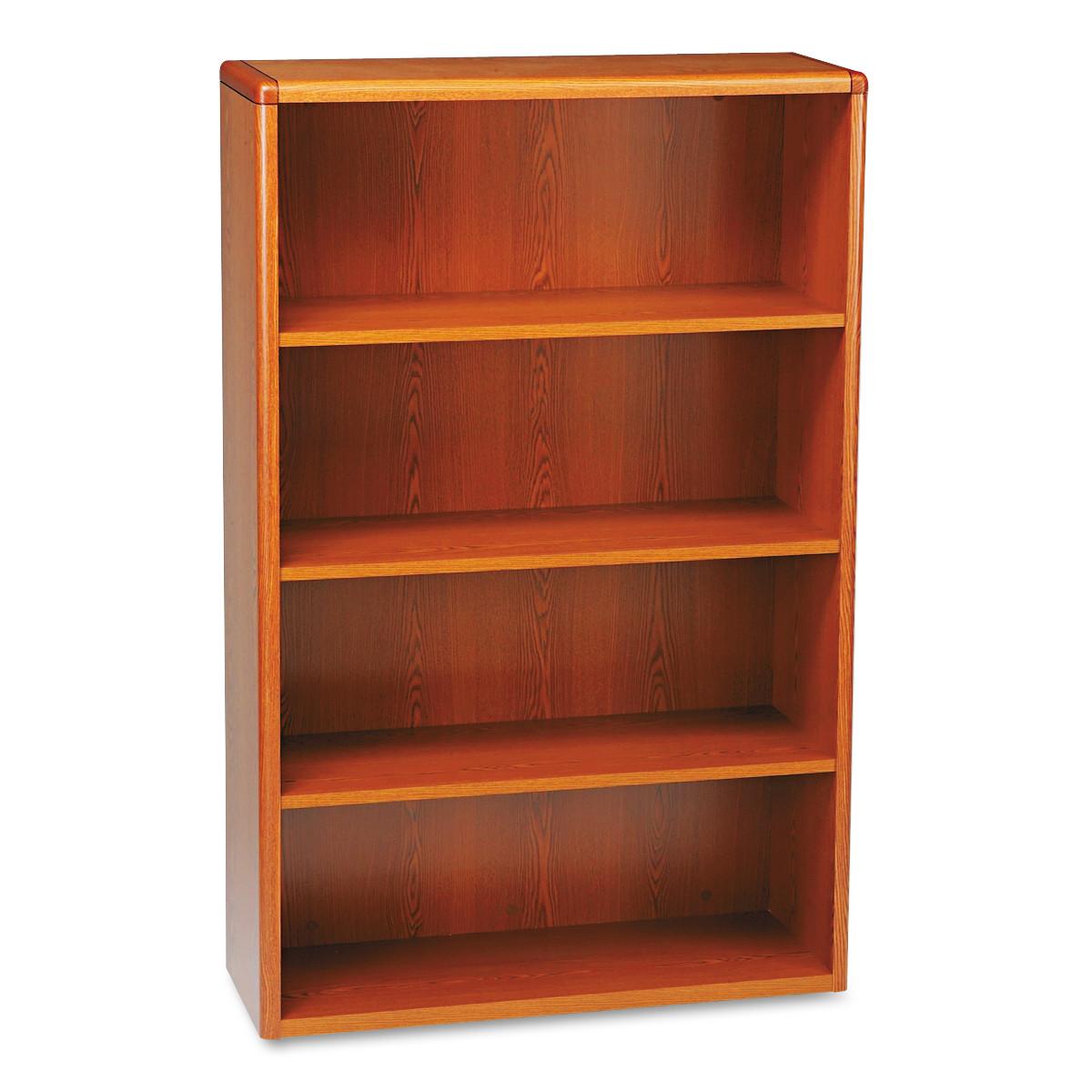 HON 10700 Series Wood Bookcase, Four Shelf, 36w x 13 1/8d x 57 1/8h, Henna Cherry