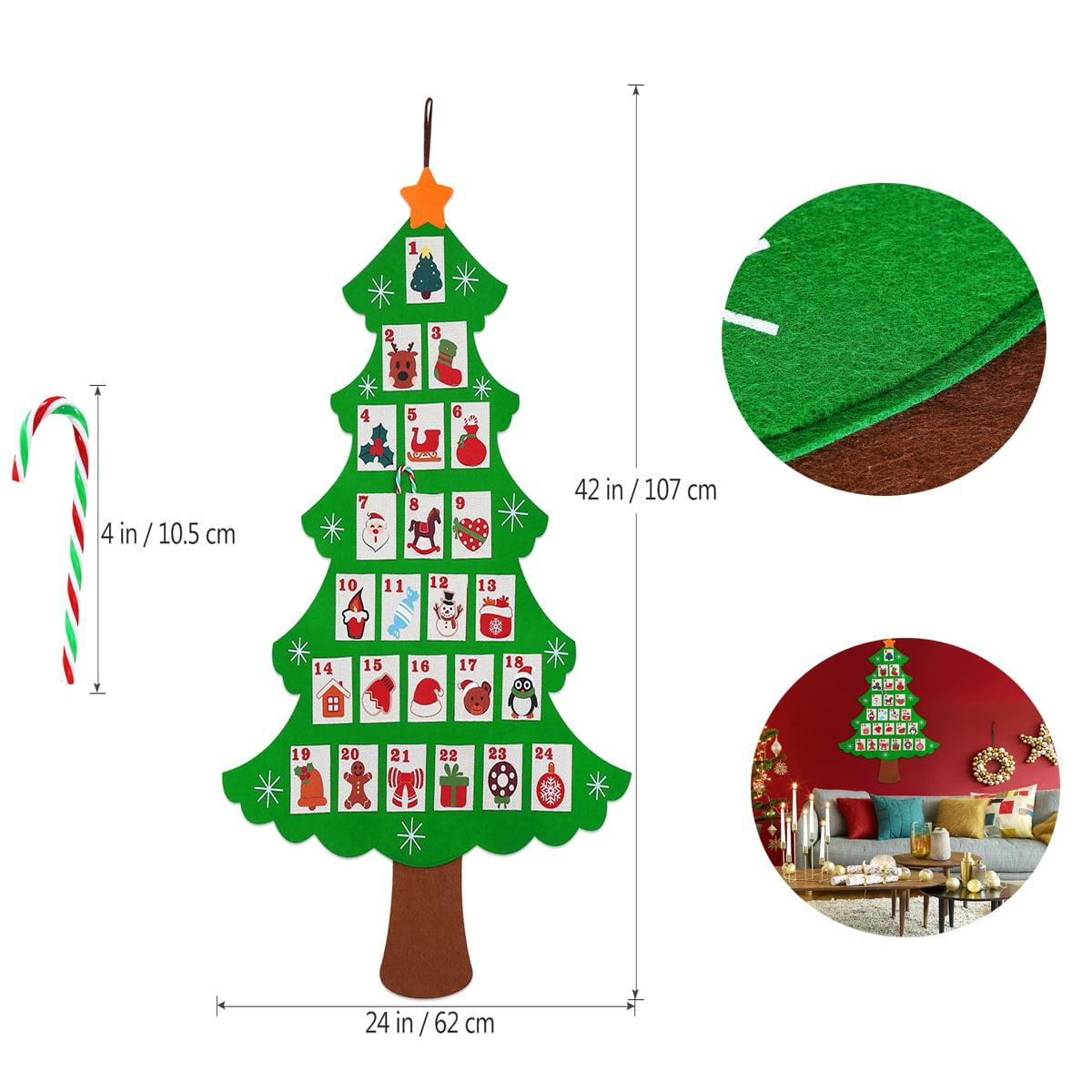Felt Christmas Tree Advent Calendar: NICEXMAS Hanging Felt Christmas Tree Calendar Countdown To