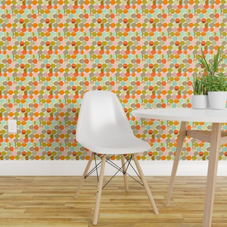 Peel and Stick Removable Wallpaper Mod Aqua Coral Sixties Atomic Age G