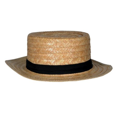 Club Pack of 12 Straw Skimmer Hat with a Black Grosgrain Ribbon - One Size ()