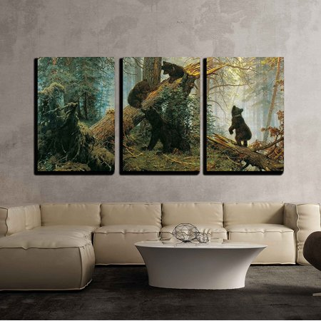 "wall26 - Black Bears in Forest Painting - Canvas Art Wall Decor -16""x24""x3 Panel"