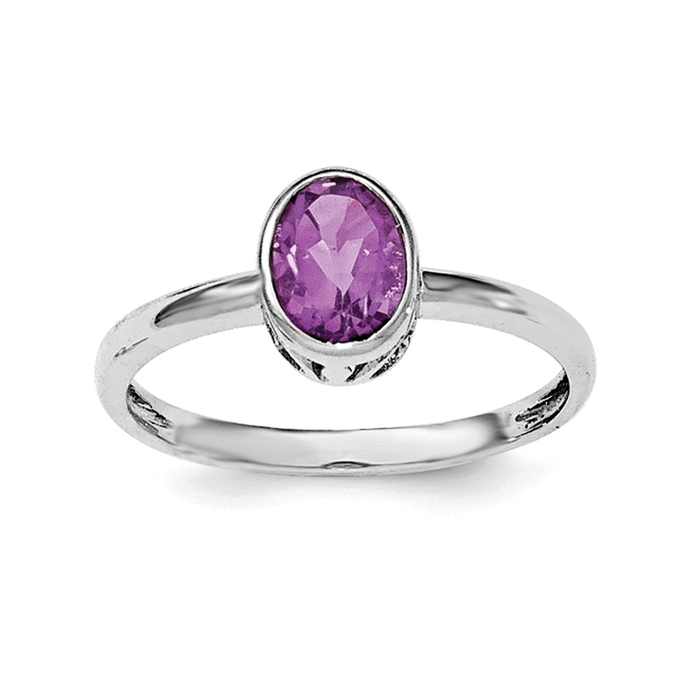 Sterling Silver Polished Simulated Amethyst Oval Ring Size 6 by AA Jewels