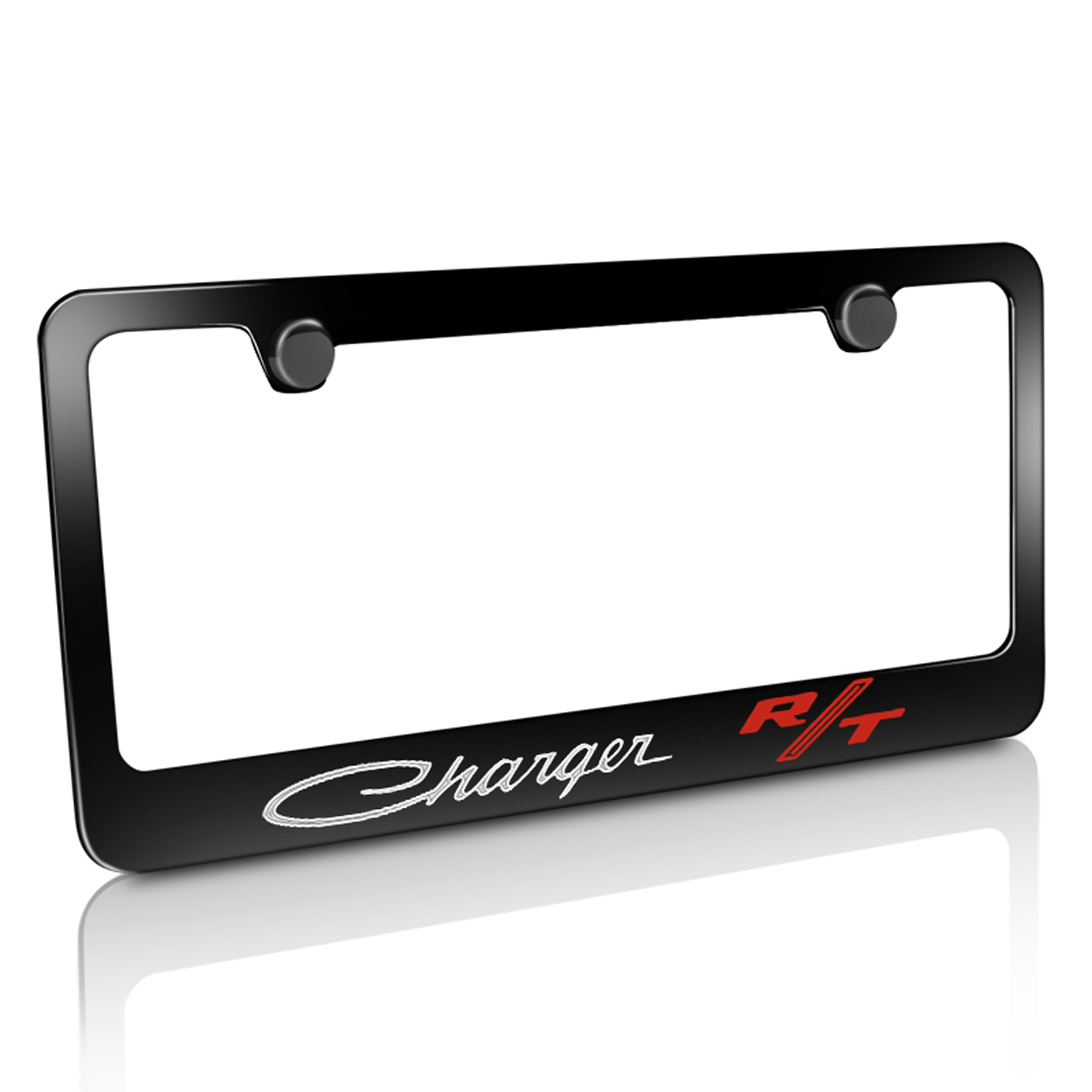 Dodge Charger RT Classic Black Metal License Plate Frame