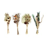 Decmode Traditional 21 Inch Multicolored Dried Floral Bouquets - Set of 4