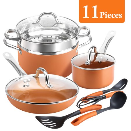SHINEURI 11-Piece Nonstick Cookware Set, Pots and Pans Set, 9.5