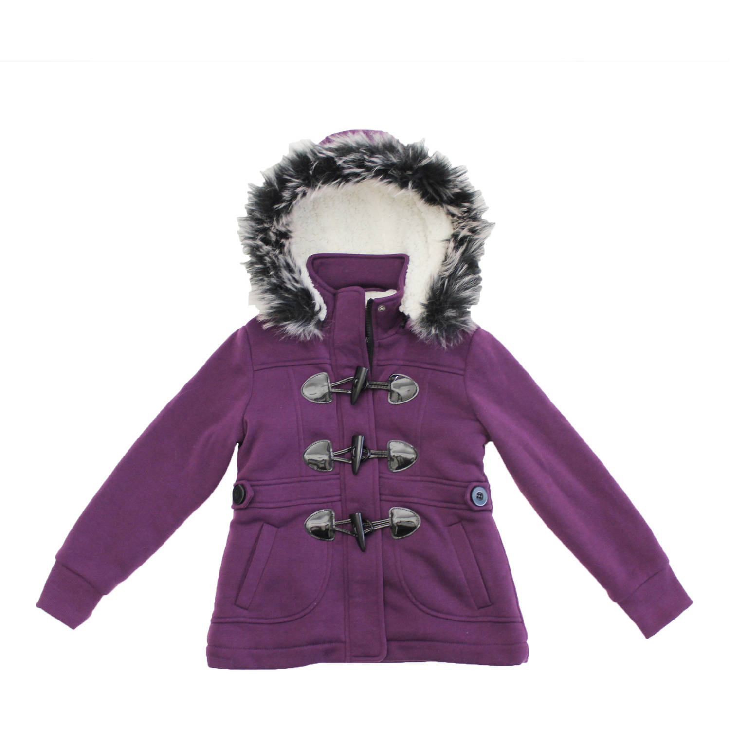 Bhip Girls' Sherpa Lined Fleece Jacket With Toggles And Fur Trim Hood