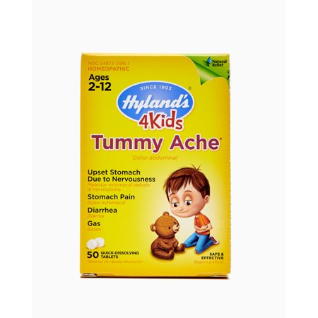 Hyland's 4 Kids Tummy Ache Tablets, Natural Relief of Upset Stomach, Diarrhea and Gas for Kids, 50