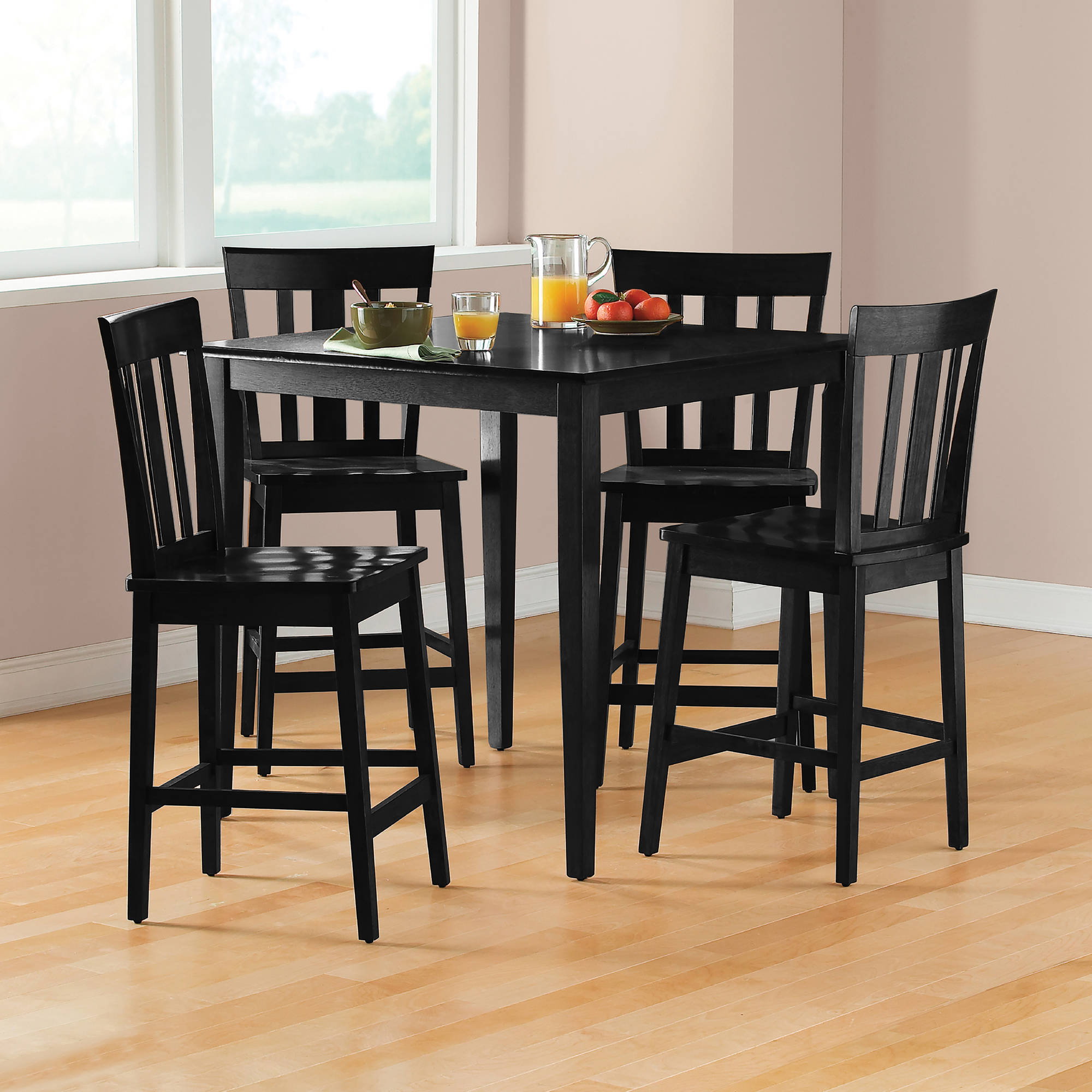 Pub table set counter height dining furniture 5 piece kitchen chairs black