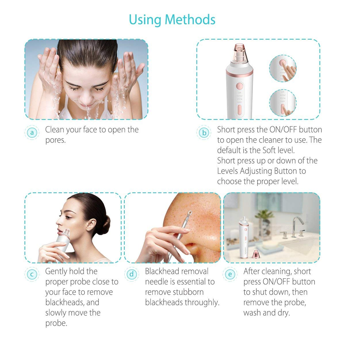 Vacuum Blackhead Remover Powerful Facial Pore Cleaner,Wireless Charging  Derma Suction Electric Acne Comedone Extractor Kit Whitehead Blackhead  Removal