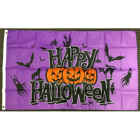 3x5 Purple Happy Halloween Flag Pumpkins Bats Ghosts Cat Outdoor Banner Pennant, Home and Holiday Flags By Home and Holiday Flags - Happy Halloween Casper The Ghost