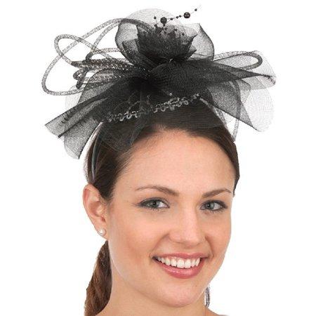 Black Silver Fascinator Headband Ladies Lace Costume Mini Hat Flowers  Accessory - Walmart.com a4a6eb506d2