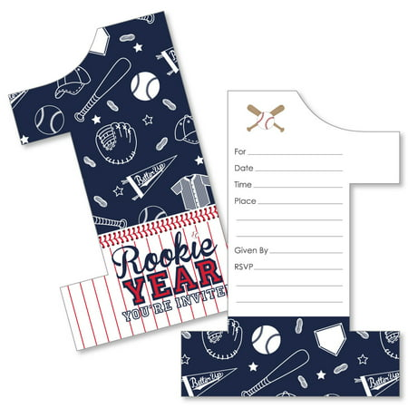 1st Birthday Batter Up - Baseball - Shaped Fill-In Invitations - First Birthday Party Invitation Cards with Envelopes - Halloween First Birthday Photo Invitations