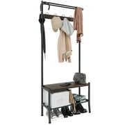 Rackaphile 3-In-1 Hall Tree Coat Rack Bench For Entryway Rustic In Black/Brown With 5 Hooks And Top Storage/Display Shelf