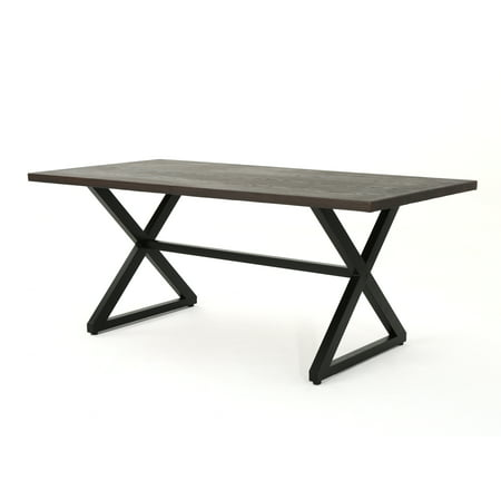 Rosarito Outdoor Aluminum Dining Table with Steel Frame, Brown and Black