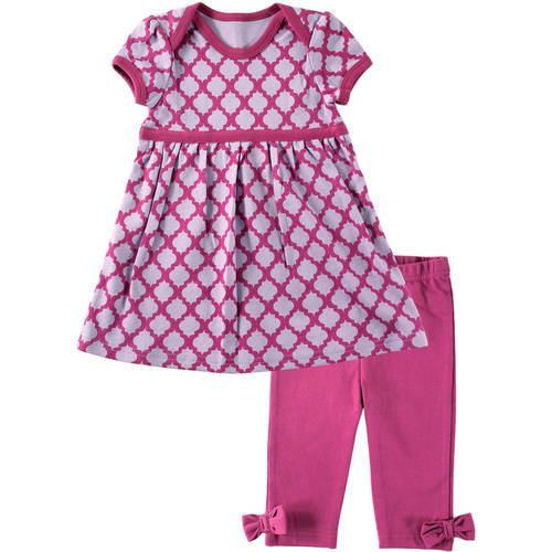 Hudson Newborn Baby Girls Dress and Legging Outfit Set