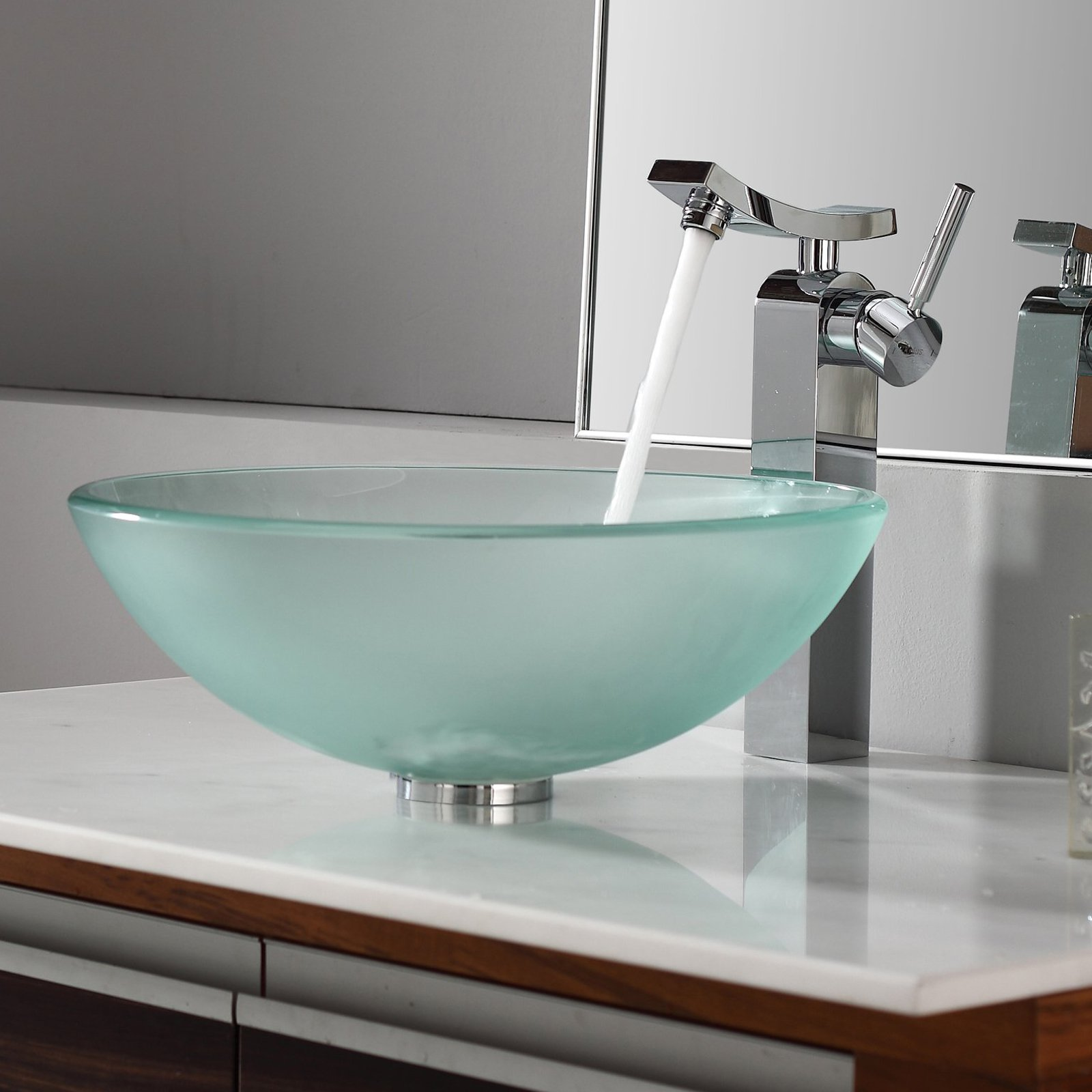 Kraus C-GV-101FR-12mm-14300CH Frosted Glass Vessel Sink and Unicus Faucet - Chrome