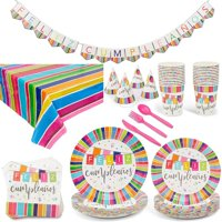 Serves 24 Feliz Cumpleaos Fiesta Birthday Party Supplies, 194PCS Plates Napkins Cups, Favors Decorations Disposable Paper Tableware Kit Set for Boys Girls Kids Adults Men Women