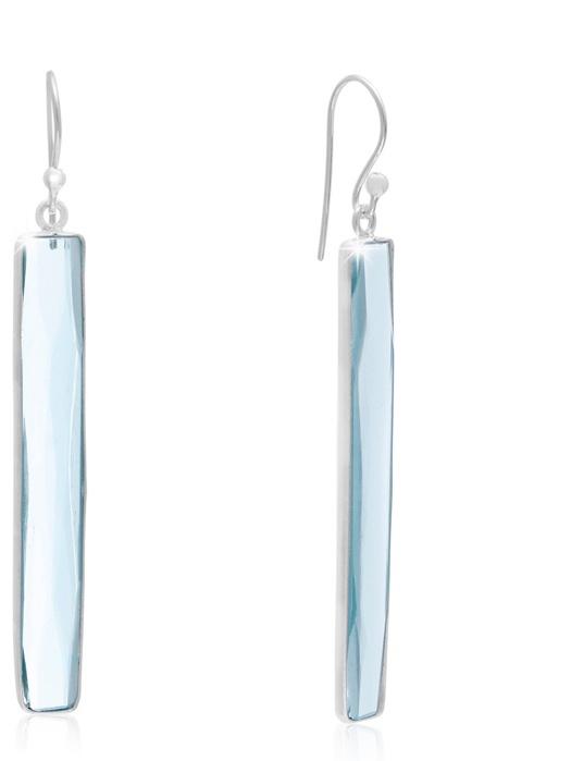 16 Carat Blue Topaz Bar Earrings In Sterling Silver 1 3/4 Inch