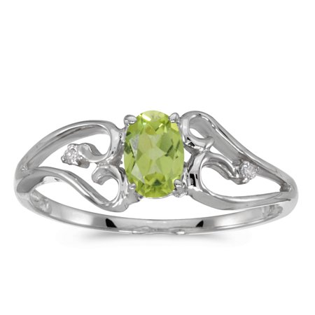- 10k White Gold Oval Peridot And Diamond Ring