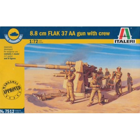 Italeri 1:72 WWII German 8.8cm Flak 37 w/ 8 Figures Fast Assemble Kit 17pt #7512