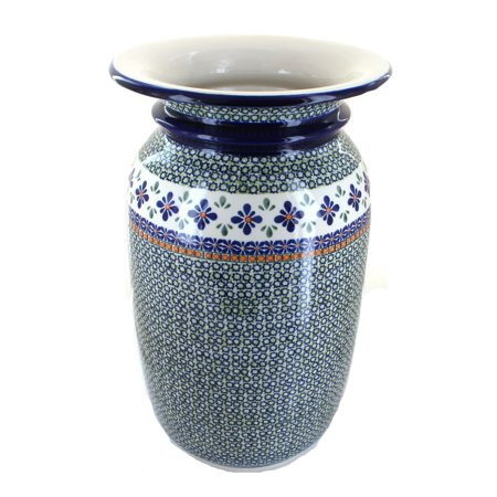 Polish Pottery Mosaic Flower Tall Floor Vase