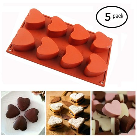 iClover [5 Pack] 8-Cup Silicone Muffin / Cupcake Baking Pan [Heart-Shaped Baking Cups] - Non-Stick, Food Pastry Mold Reusable Bakeware for Valentine Party Club (Valentine Baking Supplies)