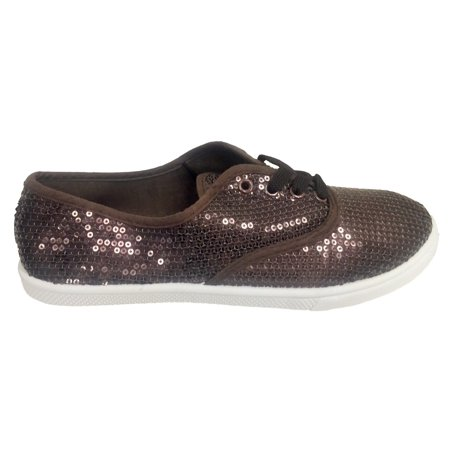 W1412 Women Fashion Sequin Sparkle Lace Up Tennis Sneakers Athletic Shoes Flats Brown Athletic Shoes For Flat Feet