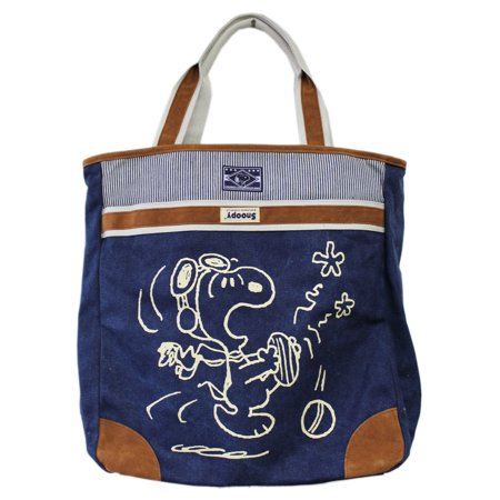 Snoopy Flying Ace Toe Stub Graphic Large Faux Denim Tote Bag