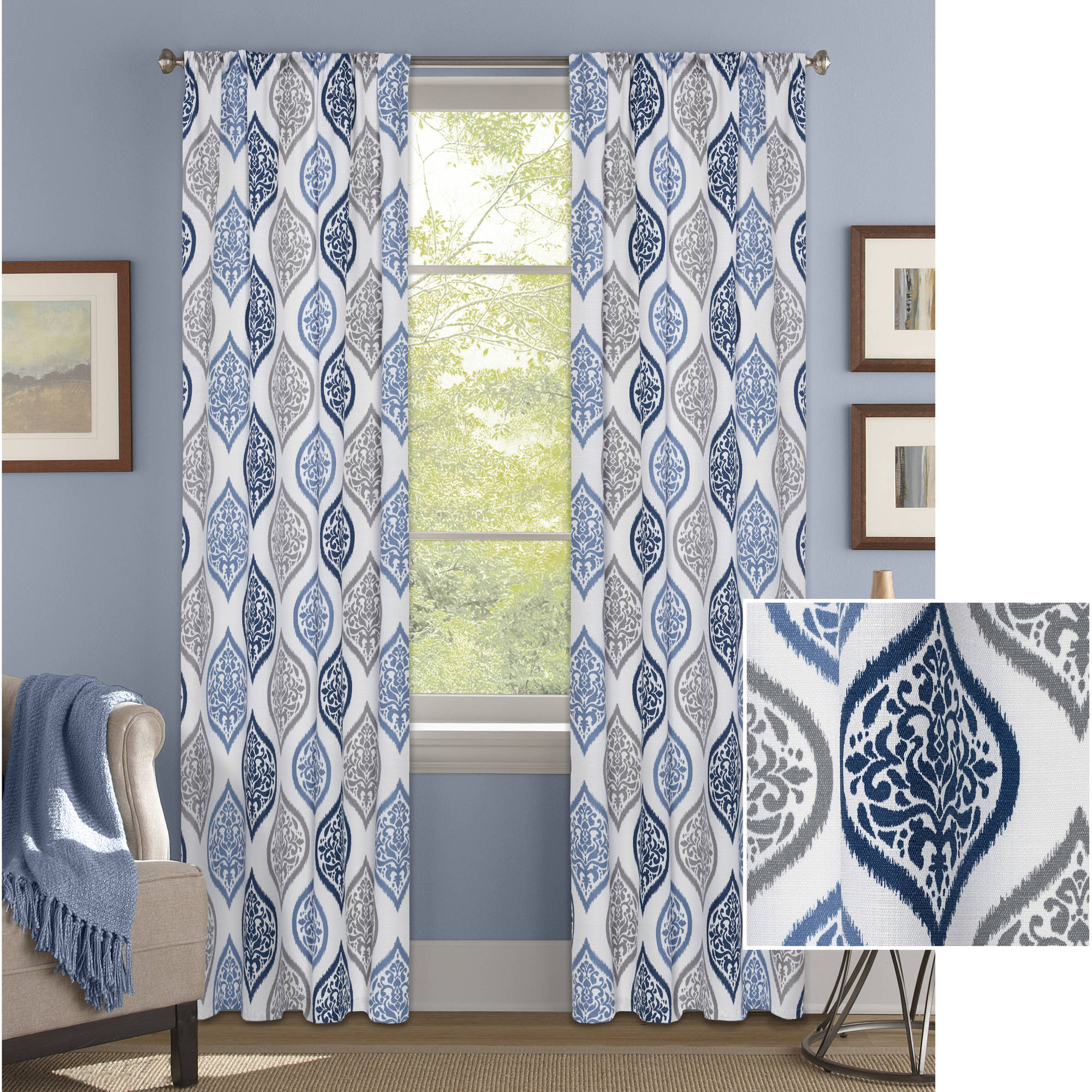 Better Homes and Gardens Damask Ogee Curtain Panel