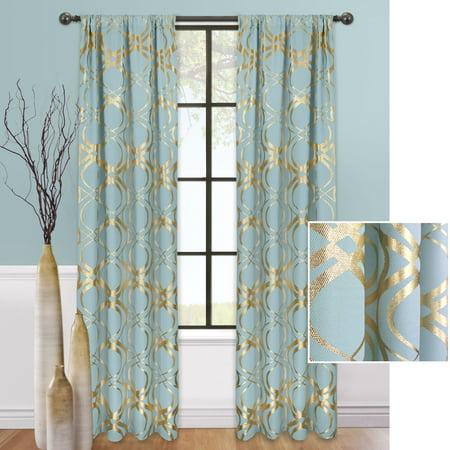 Mainstays Figure Eight Metallic Window Curtain Panel](Gold Metallic Curtains)