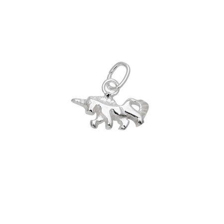 Sterling Silver Charm, Small Unicorn with Jump Ring 8.5x12mm, 1 Piece - Unicorn Charm