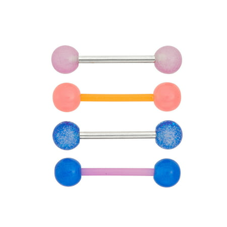 Body Magic 316L Steel and Surgical Grade Material Glow Barbell Set, 4 Pairs 316l Surgical Steel Material