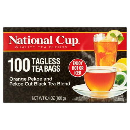 (5 Boxes) National Cup, Tagless Orange Pekoe and Pekoe Cut Black Tea Blend, Tea Bags, 100 Ct