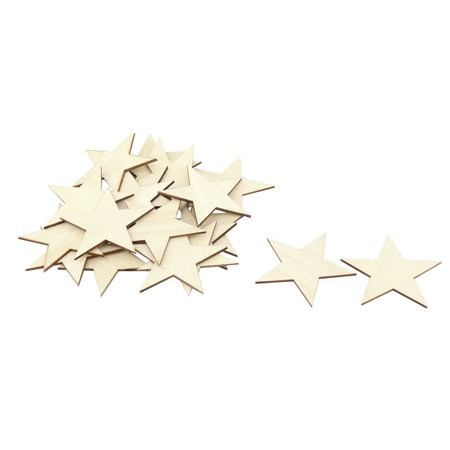 Unique Bargains Wooden Star Shaped DIY Craft Christmas Tree Ornaments Beige 80 x 80mm 20 Pcs - Wooden Star