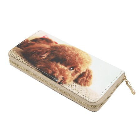 Premium Cute Toy Poodle Puppy Dog Animal Print PU Leather Zip Around Wallet