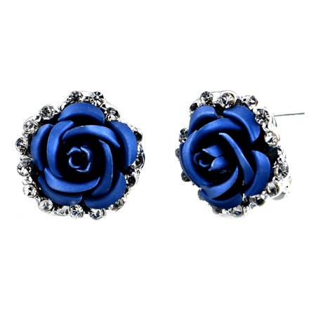 Charming Pearls Flower (Fashion Alloy Crystal Rhinestone Ear Stud Earrings for Women Girl Rose Flower Red Blue Optional Gift Party Wedding Jewelry Accessories Charming Luxury )