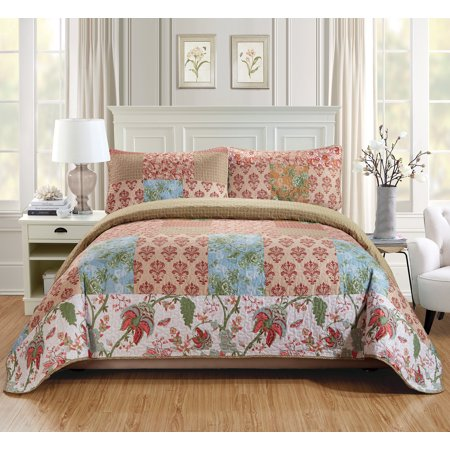 (Fancy Linen 2pc Twin/Twin Extra Long Over Size Quilted Coverlet Bedspread Set Patchwork Floral Squares Beige Rust Taupe Light Blue Green White New # Valencia)
