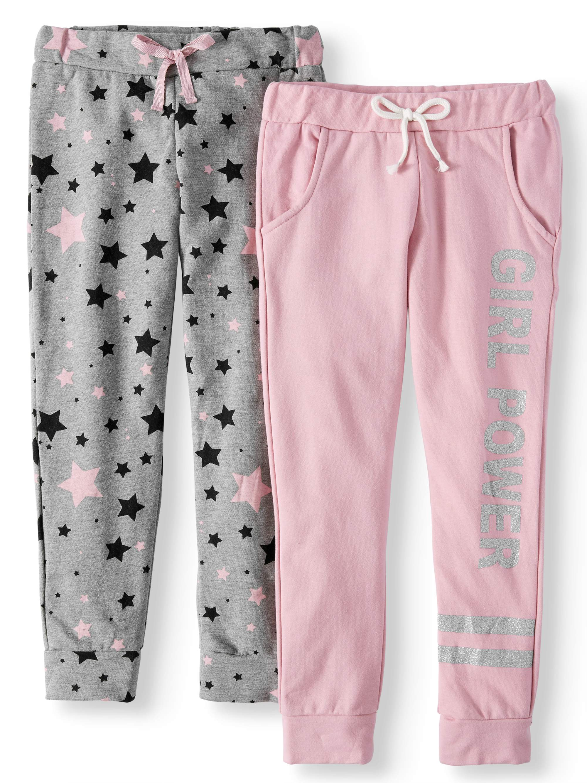 Glitter Graphic and All Over Print Joggers, 2-Pack (Little Girls & Big Girls)