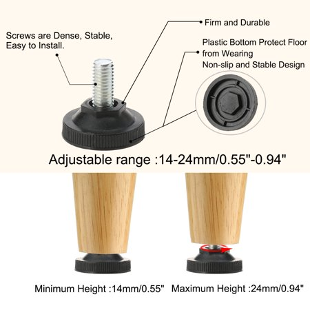 M10 x 20 x 37mm Leveling Feet Floor Protector for Home Apartment Sofa Leg 20pcs - image 3 de 7