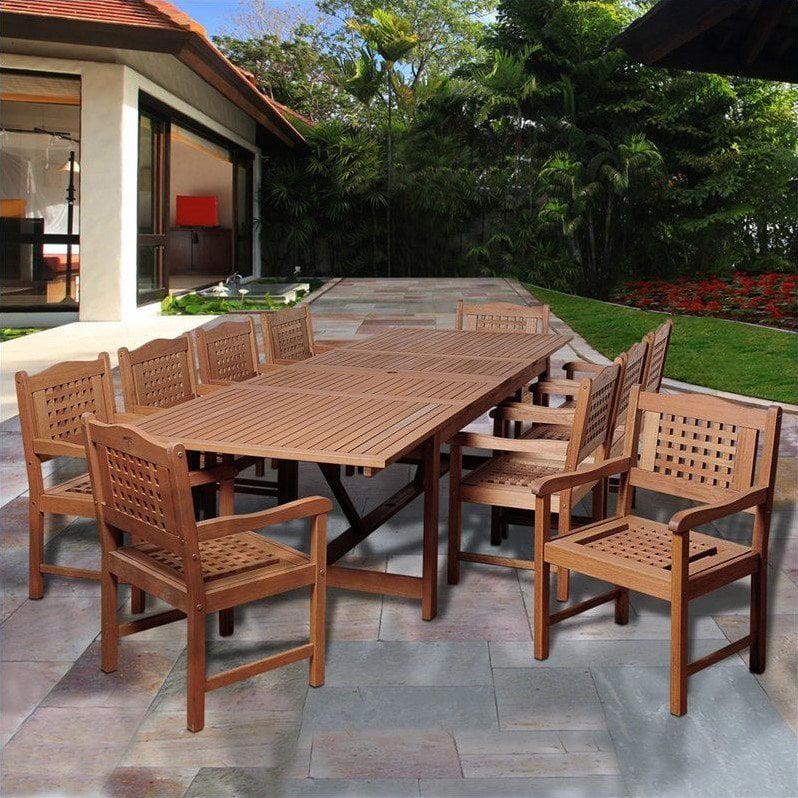 Deangelo 11-Piece Eucalyptus Extendable Rectangular Patio Dining Set