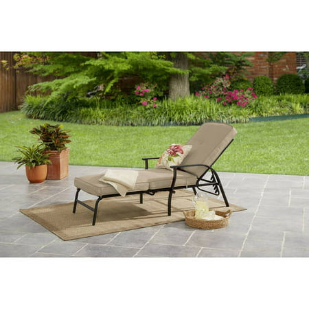 Mainstays Belden Park Outdoor Chaise Lounge with Cushions for Patio and Deck, Tan