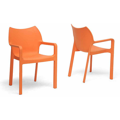 Wholesale Interiors Limerick Plastic Stackable Modern Dining Chair, Set of 2, Orange