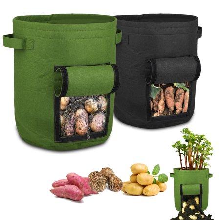 EEEKit Vegetable Growing Bag Potato Grow Bag, 7 Gallon Aeration Waterproof Fabric Sweet Potato Planter, Velcro Window Tomato Vegetable Peanut Growing Box Bucket Pot for Nursery Garden (Black