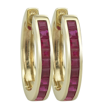 14K Yellow Gold 1.65ct Valentine Charm Single Row Square Ruby Huggie Earrings