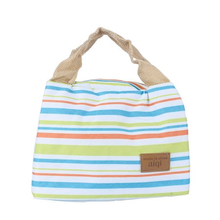 Qiilu Multicolor Striped Lunch Bag Waterproof Insulated Thermal Cooler Lunch Box Picnic Carry Tote Storage Bag Canvas Lunch Box Package