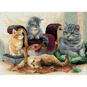"""Feline Family Counted Cross-Stitch Kit, 15.75"""" x 11.75"""", 14-Count"""