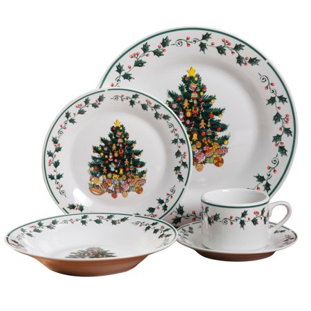Gibson Tree Trimmings 20-piece Dinnerware Set Christmas Holiday Dinnerware