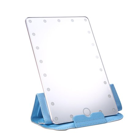 USB Desktop Makeup Mirror 21Pcs LED Touch Screen Cosmetic Lamp Mirror + Mirror Cover Rose Gold