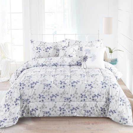 King Floral Shabby Chic Farmhouse Flowers 5 Piece Comforter Bedding Set, Blue Purple and Grey ()