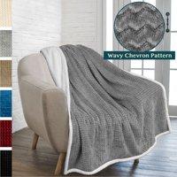 PAVILIA Premium Chevron Sherpa Throw Blanket | Soft Reversible Grey Fleece Blanket Throw | Plush, Fuzzy Throw for Couch Sofa, Lap TV Blanket| Lightweight Microfiber, 50x60 Inches
